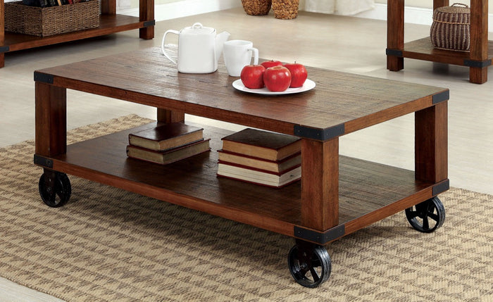 Furniture Of America Haneffa Double Shelf Coffee Table  Dark Oak