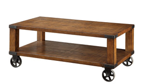 Furniture Of America Haneffa Double Shelf Coffee Table Dark Oak-Coffee Tables-HipBeds.com