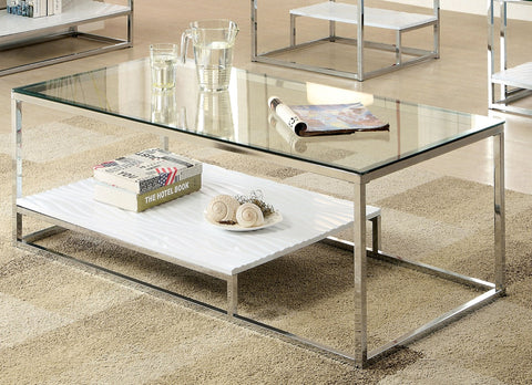 Furniture Of America Mandura Textured Display Shelf Coffee Table White-Coffee Tables-HipBeds.com