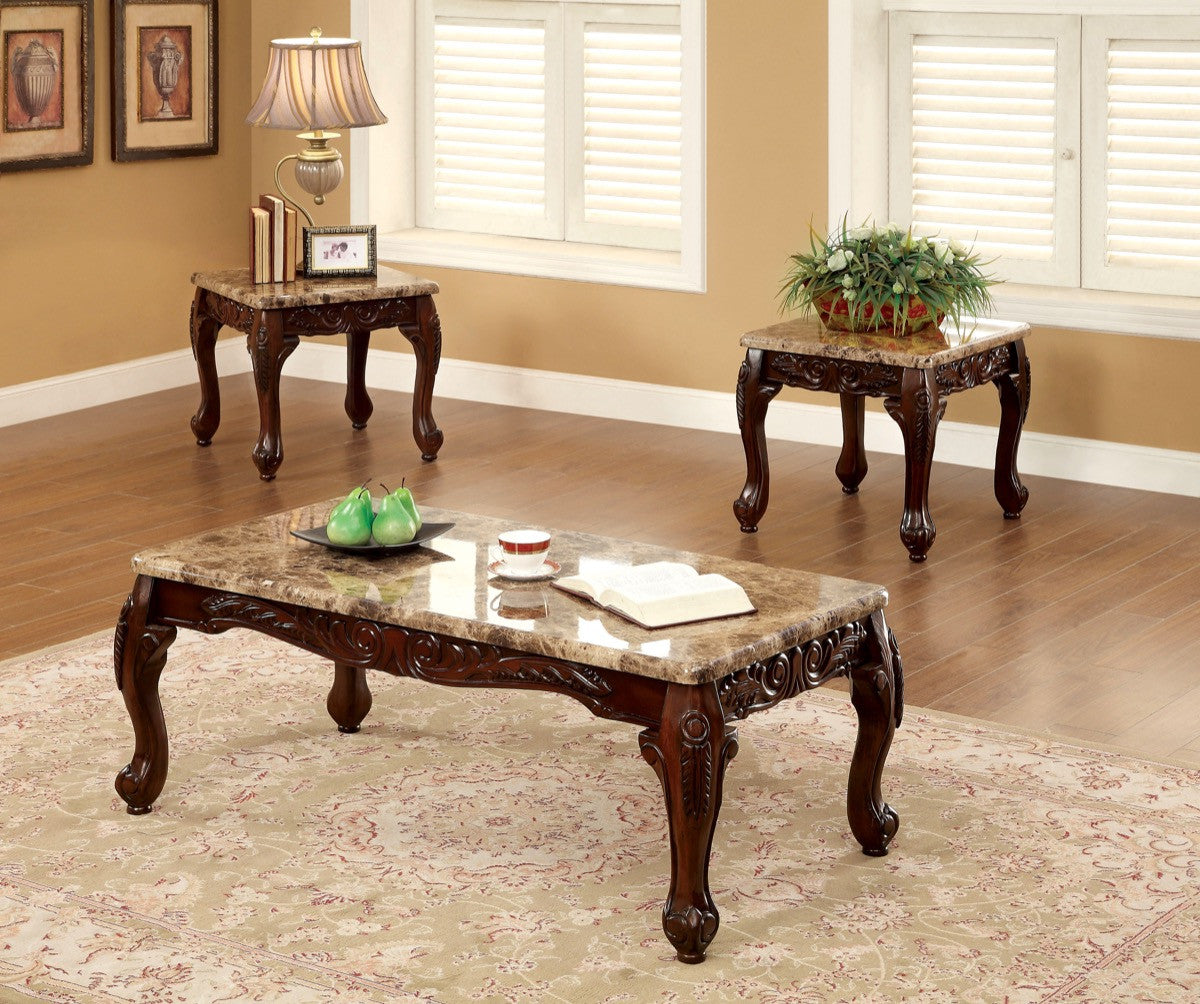 Furniture Of America Heiro 3pk Faux Marble Coffee Table Set Ivory Hipbeds Com