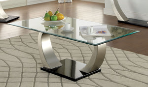 Furniture Of America Golvina Beveled Glass Top Coffee Table Silver-Coffee Tables-HipBeds.com