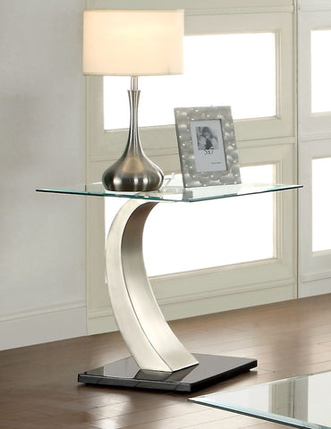 Furniture Of America Golvina Beveled Glass Top End Table Silver-End Tables-HipBeds.com