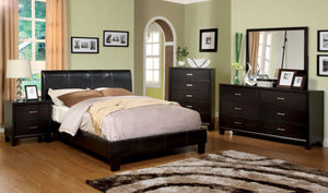 Furniture Of America Ethan Cal King Leatherette Platform Bed Espresso-Platform Beds-HipBeds.com
