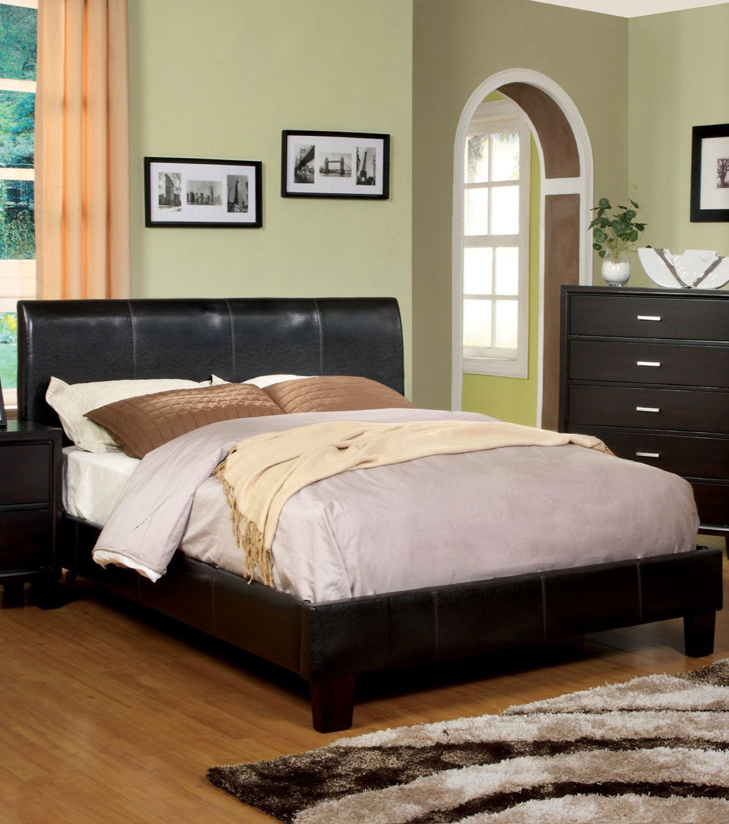 Picture of: Furniture Of America Ethan Queen Size Leatherette Platform Bed Espresso Hipbeds Com
