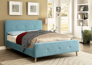 Furniture Of America Galena Queen Size Flannelette Platform Bed In Light Blue-Platform Beds-HipBeds.com
