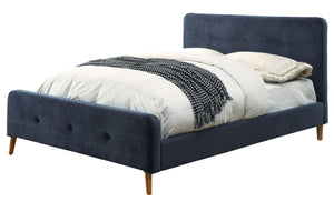 Furniture Of America Galena Queen Size Flannelette Platform Bed In Navy-Platform Beds-HipBeds.com