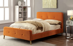 Furniture Of America Galena Queen Size Flannelette Platform Bed In Orange-Platform Beds-HipBeds.com