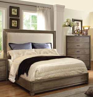Furniture Of America Toreesa Upholsted Headboard Calking Platform Bed Natural Ash-Platform Beds-HipBeds.com