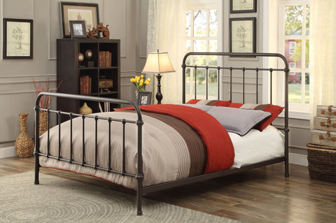 Furniture Of America Alesso Powder Coated Platfrom Cal King Bed In Dark Bronze-Platform Beds-HipBeds.com