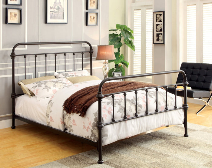Furniture Of America Alesso Powder Coated Platfrom King Size Bed In Dark Bronze