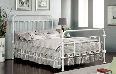 Furniture Of America Alesso Powder Coated Platfrom Full Size Bed In Vintage White-Platform Beds-HipBeds.com