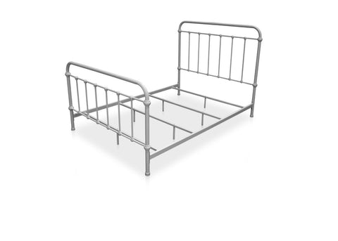 Furniture Of America Alesso Powder Coated Platfrom Queen Size Bed In Vintage White-Platform Beds-HipBeds.com