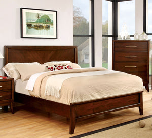 Furniture Of America Tessa Panel Headboard Queen Size Bed Brown Cherry-Platform Beds-HipBeds.com