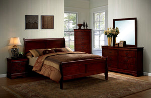 Furniture Of America Amaya Contemporary Style Cal King Sleigh Bed Cherry-Platform Beds-HipBeds.com
