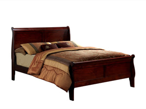 Furniture Of America Amaya Contemporary Style King Size Sleigh Bed Cherry-Platform Beds-HipBeds.com
