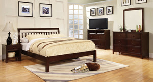 Furniture Of America Laney Slatted Headboard Calking Bed Dark Walnut-Platform Beds-HipBeds.com