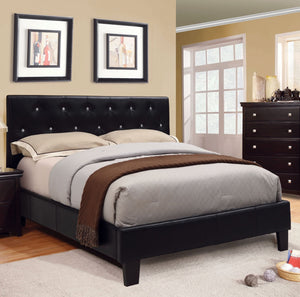 Furniture Of America Harlley Tufted Leatherette Calking Bed In Black-Platform Beds-HipBeds.com