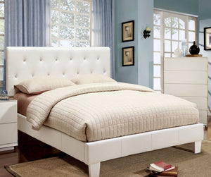 Furniture Of America Harlley Tufted Leatherette Full Size Bed In White-Platform Beds-HipBeds.com
