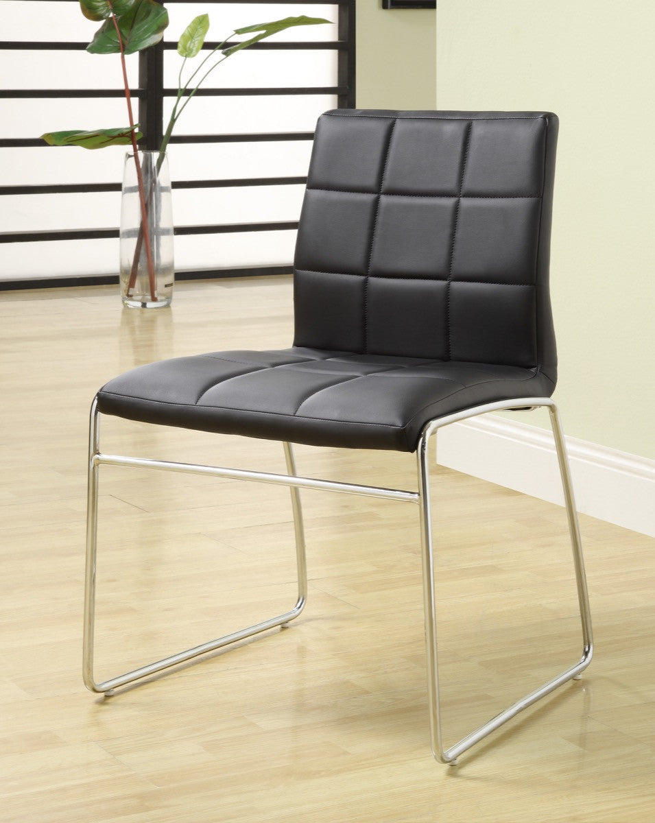 Furniture Of America Enrico 2Pc Tufted Leatherette Dinner Chair Black Dining  Chairs HipBeds.