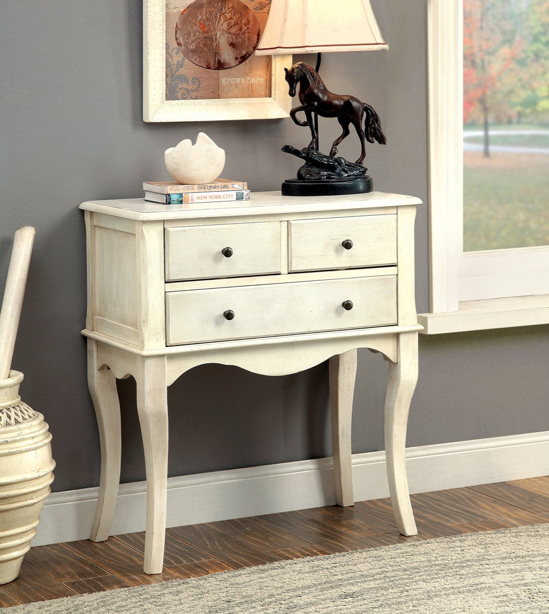 Furniture Of America Amino 3 Drawer Console Table Antique White Console  Tables HipBeds.