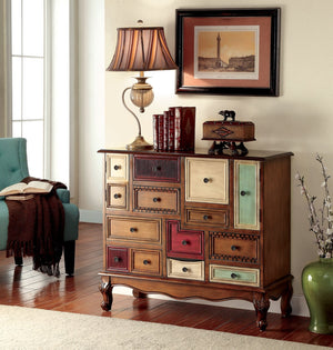Furniture Of America Donati Multi Drawer Hallway Chest Antique Walnut-Chests-HipBeds.com