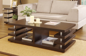 Furniture Of America Boler Stacked Panel Coffee Table Dark Espresso-Coffee Tables-HipBeds.com