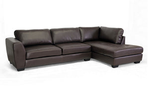 Baxton Studio Orland Brown Leather Modern Sectional Sofa Set with Right Facing Chaise-Sofas-HipBeds.com