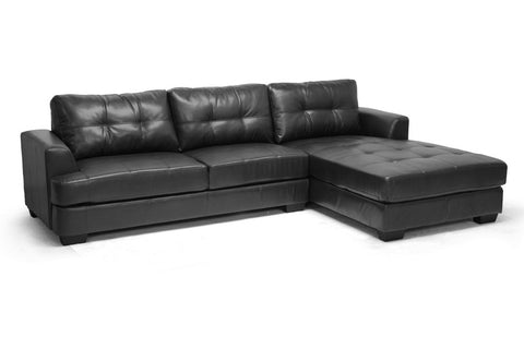 Baxton Studio Dobson Black Leather Modern Sectional Sofa-Sofas-HipBeds.com
