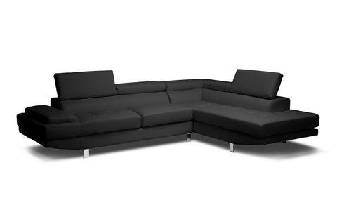Baxton Studio Selma Black Leather Modern Sectional Sofa-Sofas-HipBeds.com