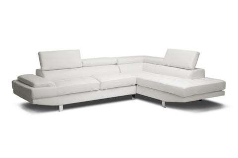 Baxton Studio Selma White Leather Modern Sectional Sofa-Sofas-HipBeds.com