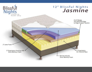 Blissful Nights Jasmine 12 in. Gel Memory Foam & Latex Mattress - 12GVLJASMINE-Mattresses-HipBeds.com