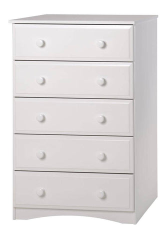 Camaflexi Chest - Essentials Five Drawer Chest - White Finish - 4153-Chest-HipBeds.com