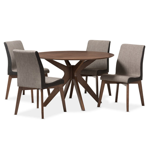 Baxton Studio Kimberly Walnut Wood Round 5-Piece Dining Set-Furniture Sets-HipBeds.com