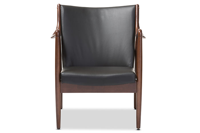 Astounding Baxton Studio Shakespeare Mid Century Modern Retro Black Faux Leather Upholstered Leisure Accent Chair In Walnut Wood Frame Squirreltailoven Fun Painted Chair Ideas Images Squirreltailovenorg