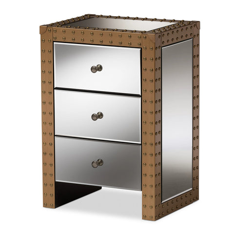 Baxton Studio Azura 3-Drawer Mirrored Nightstand-Nightstands-HipBeds.com