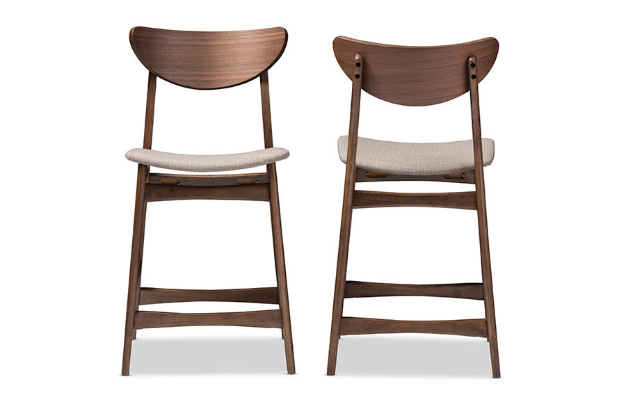 Miraculous Baxton Studio Latina Light Grey Upholstered Walnut Wood 24 Inches Stool Set Of 2 Caraccident5 Cool Chair Designs And Ideas Caraccident5Info