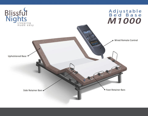 Blissful Nights M-1000 Adjustable Bed Base in Brown-Adjustable Beds-HipBeds.com