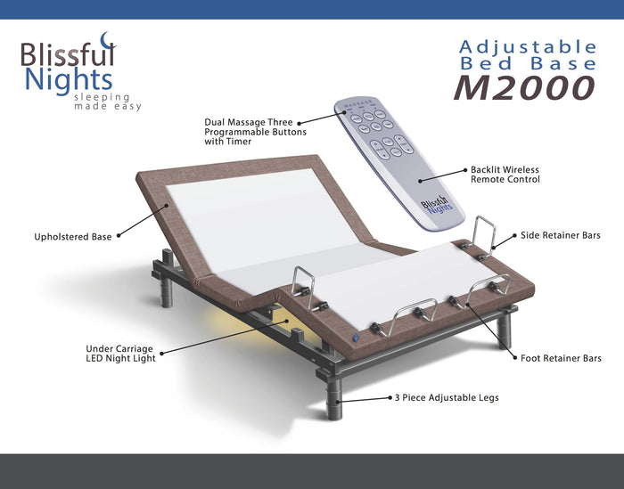 Blissful Nights M-2000 Adjustable Bed Base in Brown
