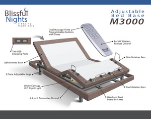 Blissful Nights M-3000 Adjustable Bed Base Multiple Sizes - Brown-Adjustable Beds-HipBeds.com