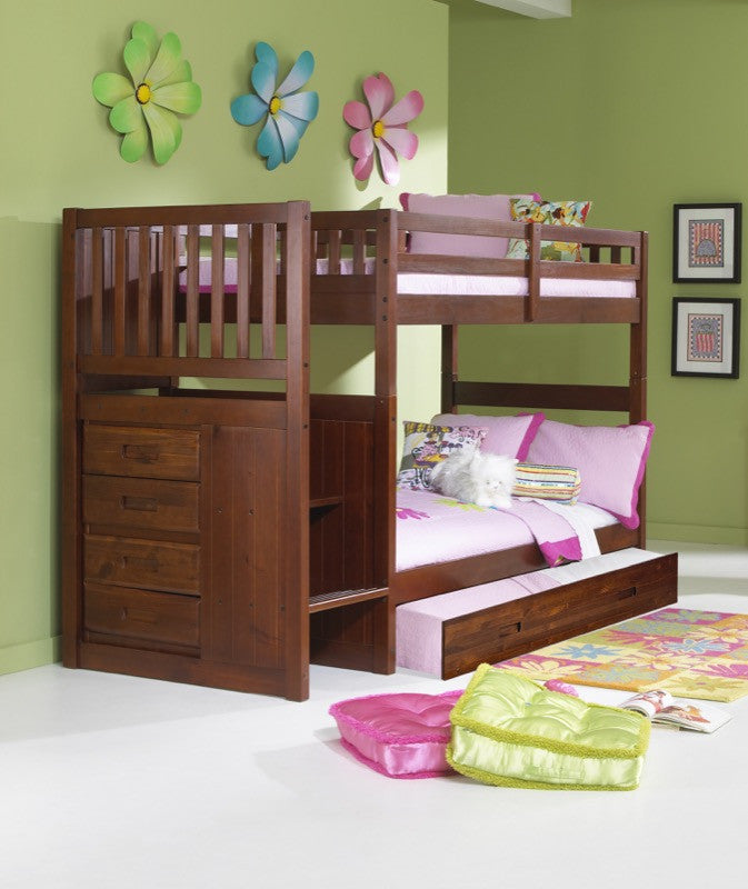 Donco Kids Twin Twin Stairway Bunk Bed Merlot 2814 T/T