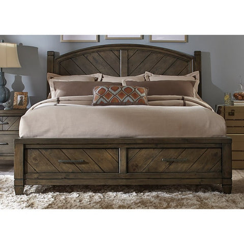 Liberty Furniture Modern Country Harvest Brown Storage Posterbed - 833-BR-XSB-Platform Beds-HipBeds.com
