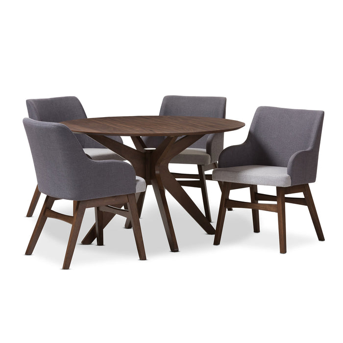 Baxton Studio Monte Walnut Wood Round 5-Piece Dining Set