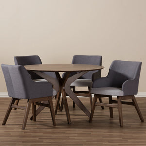 Baxton Studio Monte Walnut Wood Round 5-Piece Dining Set-Furniture Sets-HipBeds.com