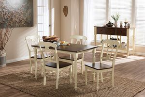 "Baxton Studio Napoleon French Country Cottage Buttermilk and ""Cherry"" Brown Finishing Wood 5-Piece Dining Set"