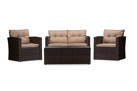 Baxton Studio Imperia Modern and Contemporary PE Rattan 4-Piece Outdoor Loveseat and Chairs in Beige Seating Cushions with Coffee Table Patio Set