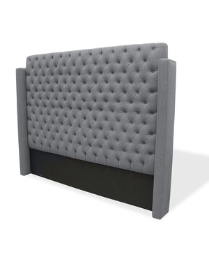 "Lennox Design Franck Wing Tufted Linen Queen Headboard, 6"" long - Grey-Headboards & Footboards-HipBeds.com"