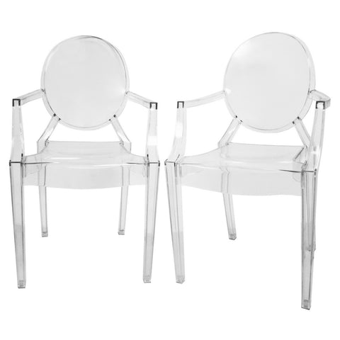 Baxton Studio Dymas Modern Acrylic Armed Ghost Chair - Set of 2