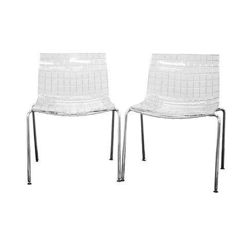 Baxton Studio Obbligato Transparent Clear Acrylic Accent Chair - Set of 2