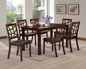 Baxton Studio Mozaika Wood and Leather Contemporary 7-Piece Dining Set