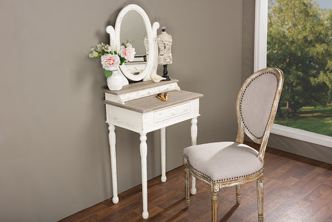 Baxton Studio Anjou Traditional French Accent Dressing Table with Mirror